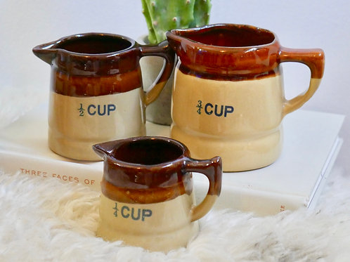 Set of 3 Vintage StonewareLiquid Measuring Cups