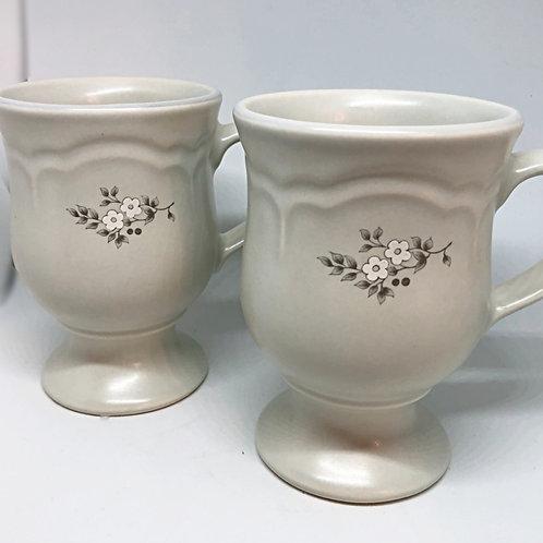 Set of 2 60's Floral Stoneware Mugs