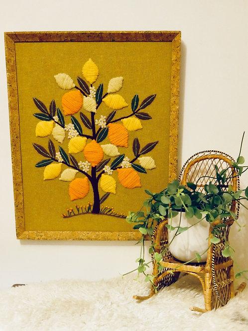 Vintage Fruit Tree Framed Textile Art