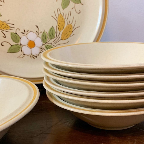 Vintage Yellow Stripe Stoneware Salad/Soup Bowl