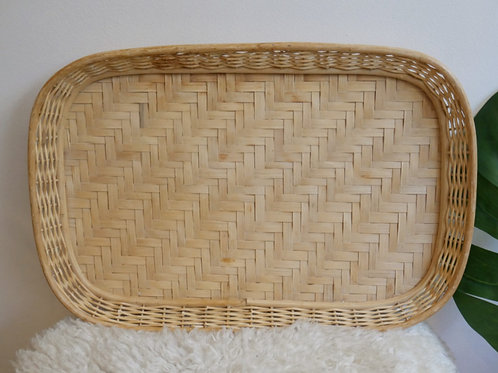 Large Bamboo + Rattan Tray