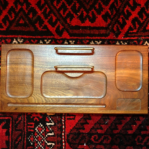 Vintage Walnut Desk Organizer