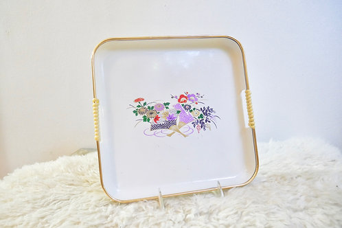 Vintage Art Deco Floral White Tray