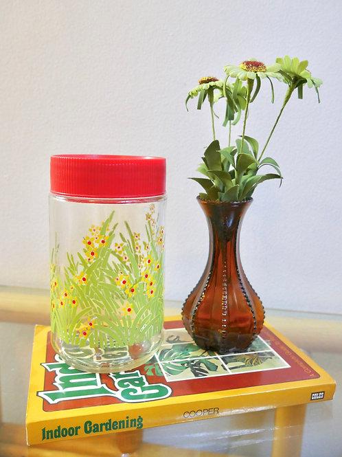 Vintage Reverse Painted Floral Jar