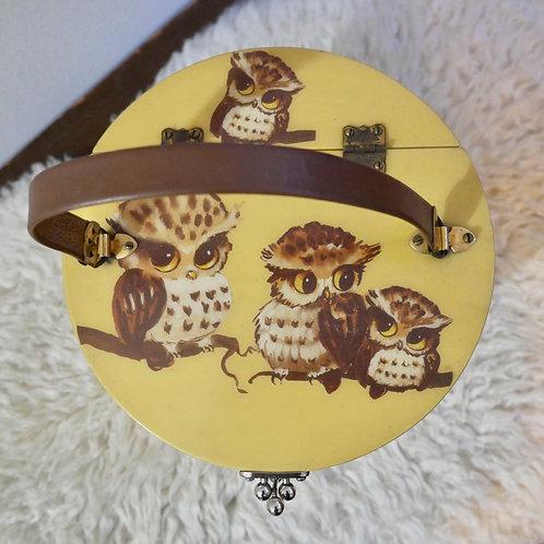 Vintage 70s Painted Owl Pail