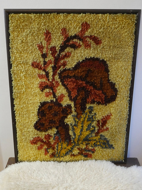 Vintage Framed Mushroom Latch-Hook Shag Rug Wall Decor