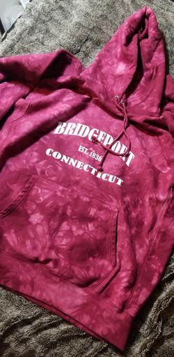 Custom Designed Bridgeport Connecticut Hoodie - Tie Die Red Champion Hoodie
