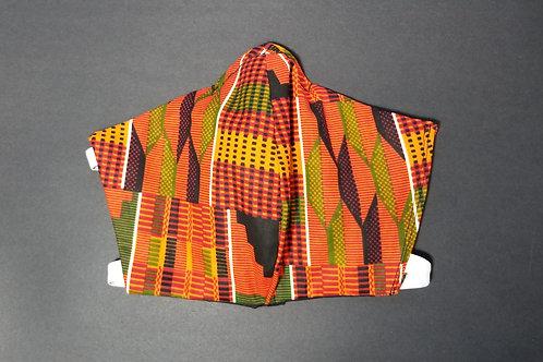 Orange African Print Washable, Reusable Face Mask with Filter Pocket