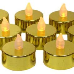 12pc LED Metallic Gold Flameless Votives