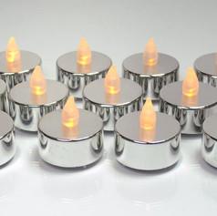 12pc LED Metallic White Flameless Tealight