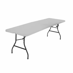Plastic, White Foldable 6 ft Table - Opened