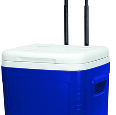2 Wheel, 60 Quart, 56 Liters, 90 Can Blue and White Cooler
