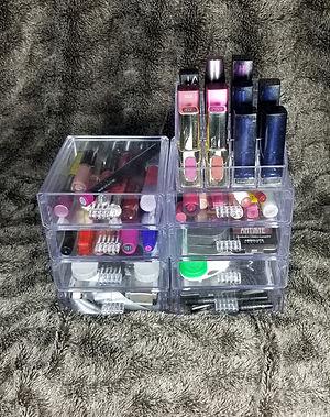 clear acrylic makeup organizer, custom designed makeup organizer