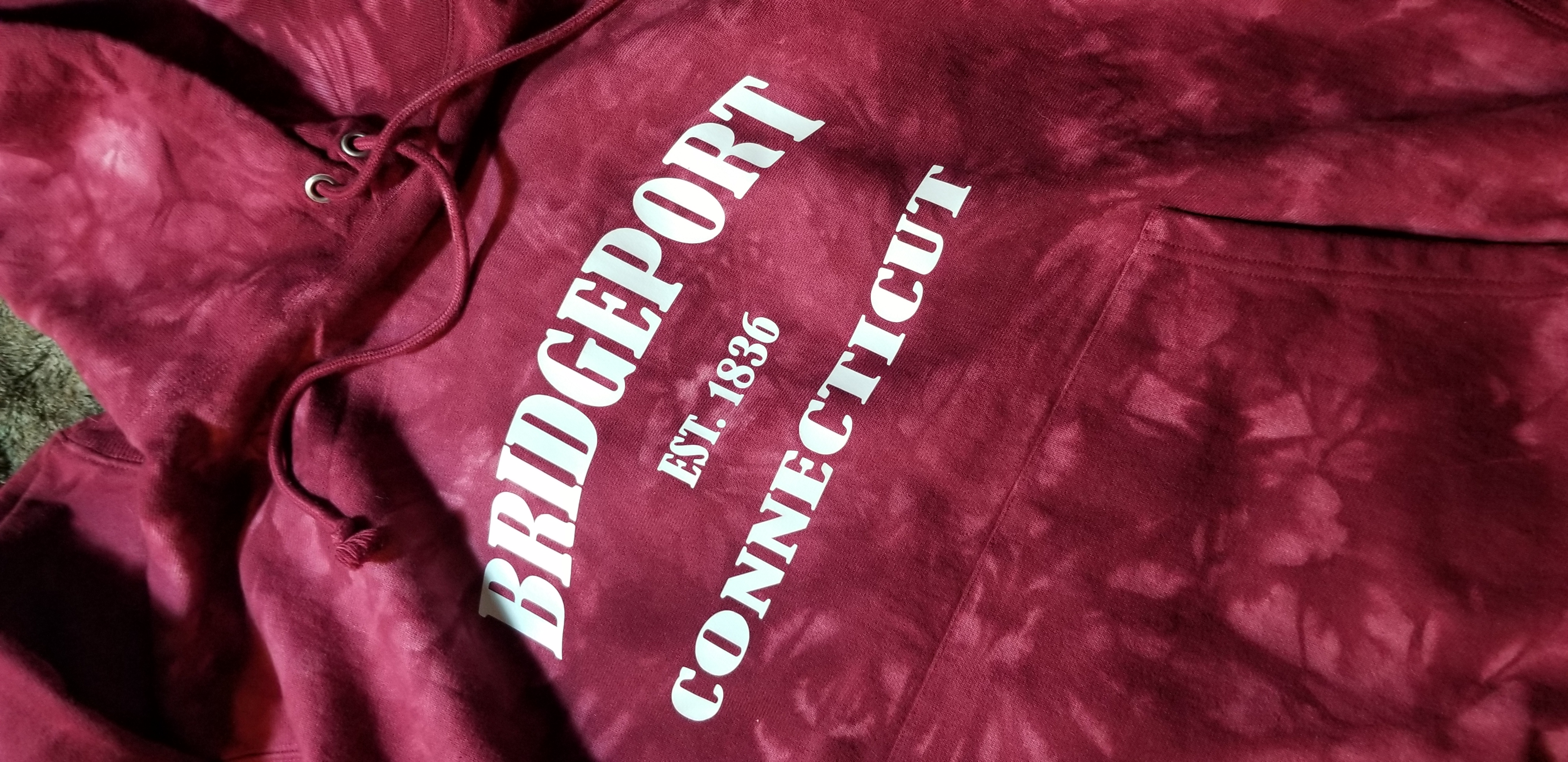 Custom Designed Bridgeport Connecticut Hoodie - Tie Die Red Champion Hoodie