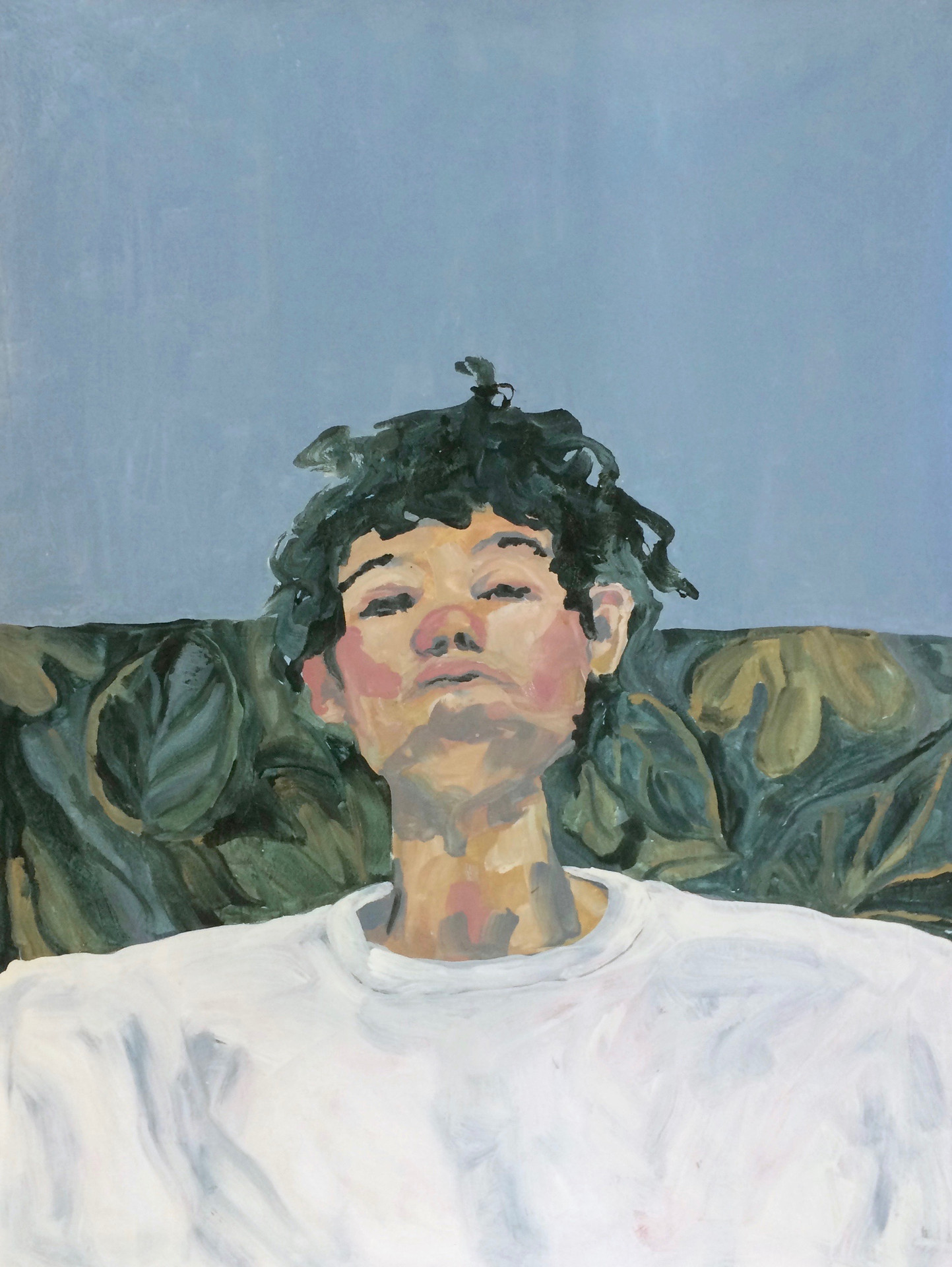 Självporträtt, 180x130 cm, tempera och akryl på bomullsduk, 2017
