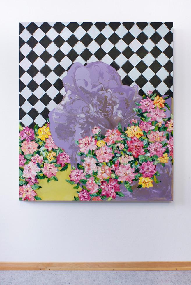 Utan titel, tempera, olja och akryl på bomullsduk, 130x110 cm, 2020