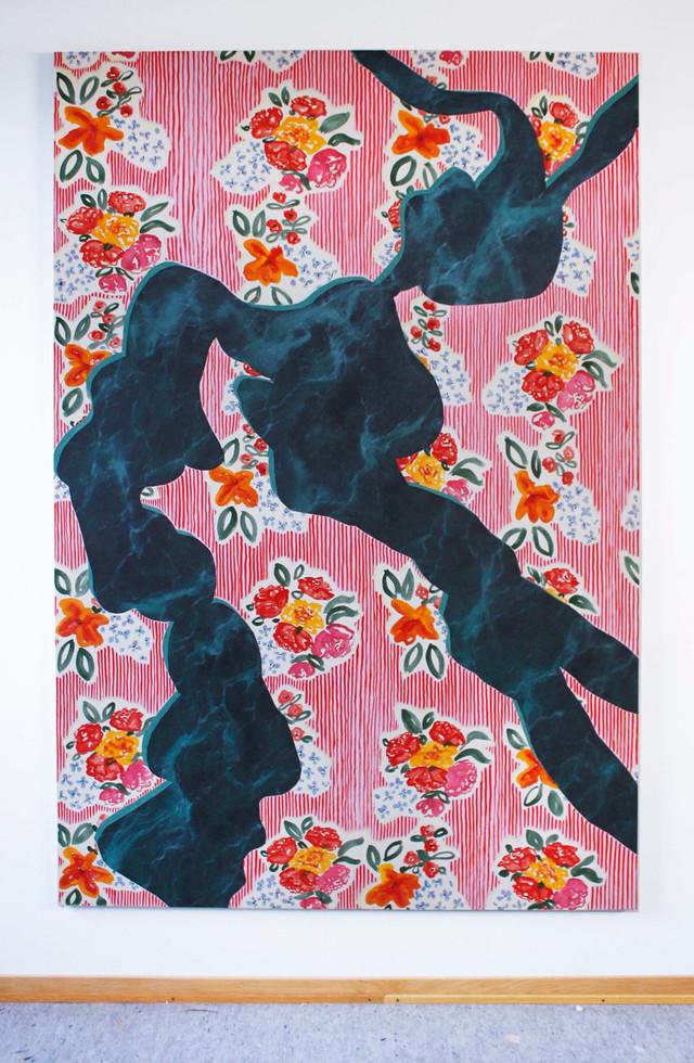 Dans, 190x135 cm, olja, tempera och akryl på bomullsduk, 2019