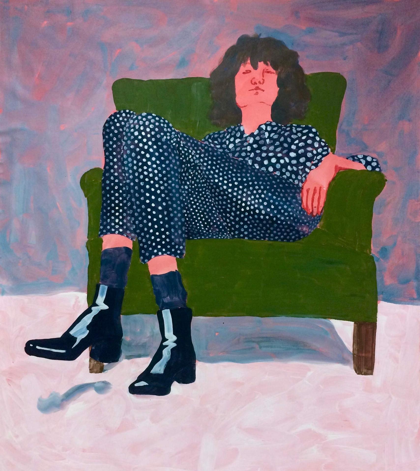 Självporträtt, 180x140 cm, tempera och akryl på bomullsduk, 2017