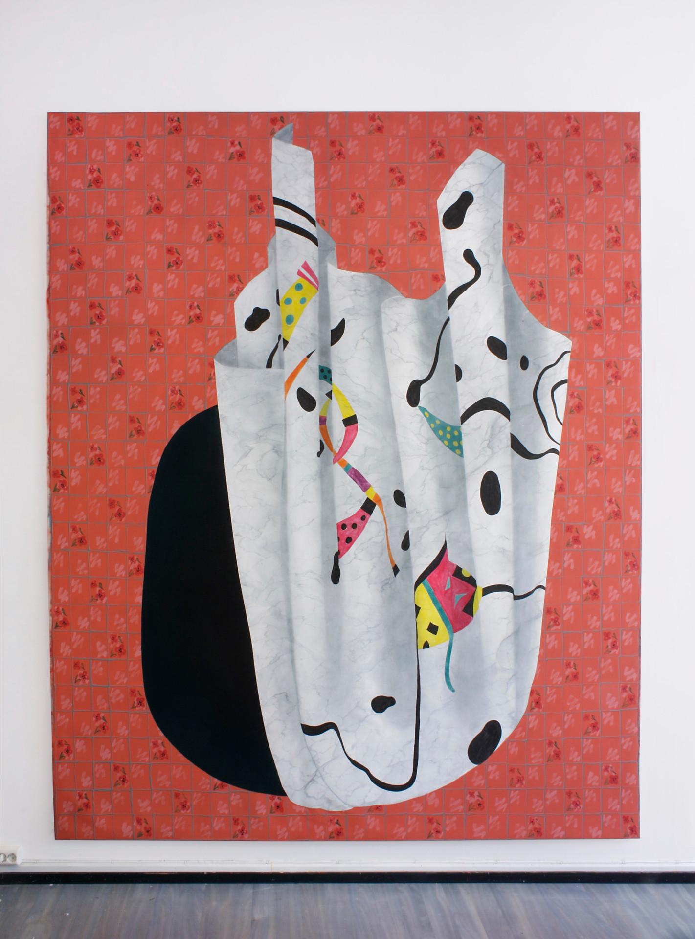 Trick, 300x245 cm, olja, tempera och akryl på canvas, 2019