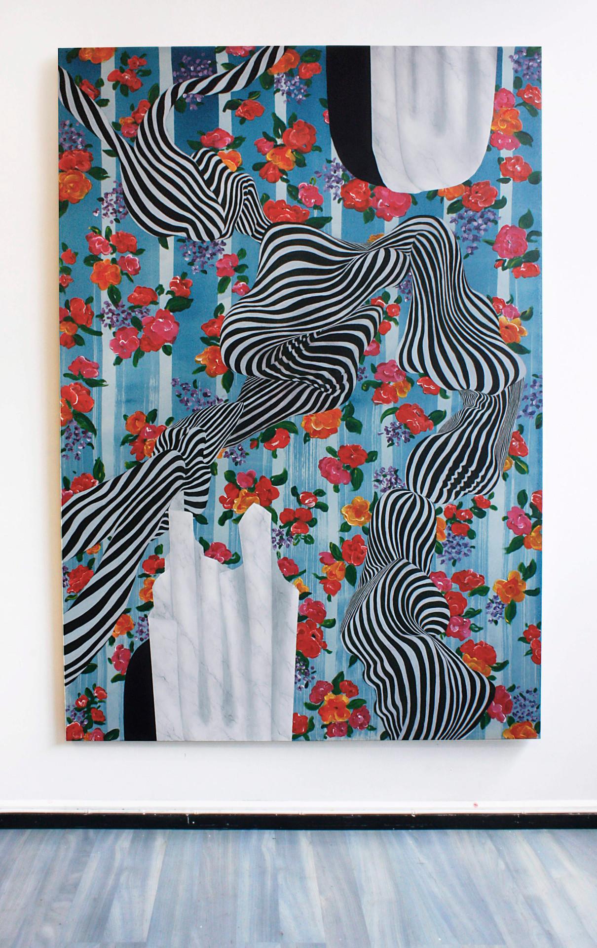 Utan titel, 200x135 cm, tempera och akryl på bomullsduk, 2019