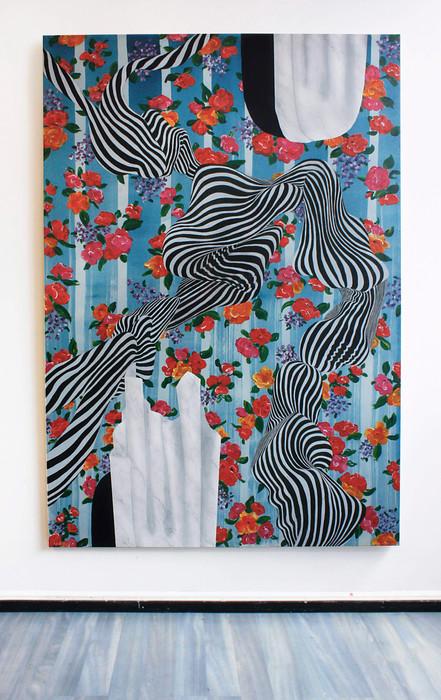 Utan titel (No title), 200x135 cm, tempera and acrylic on cotton canvas, 2019