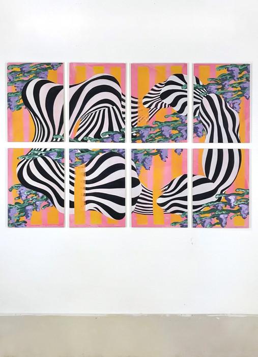 Åttaavåtta I-VIII, 65x46cm x8,  tempera, oil and acrylic on cotton canvas, 2021