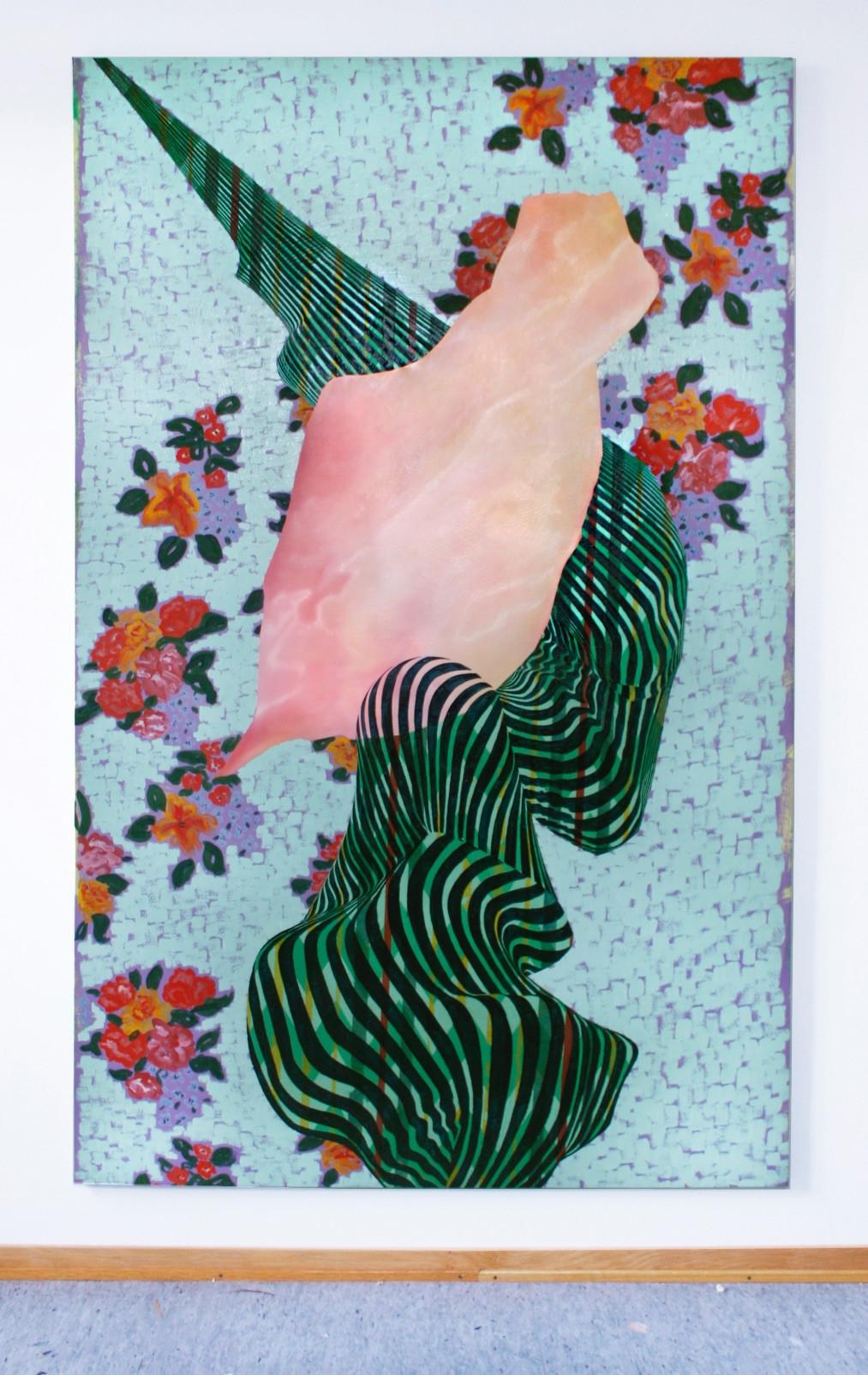Snäcka, 210x135 cm, olja, tempera och akryl på bomullsduk, 2019