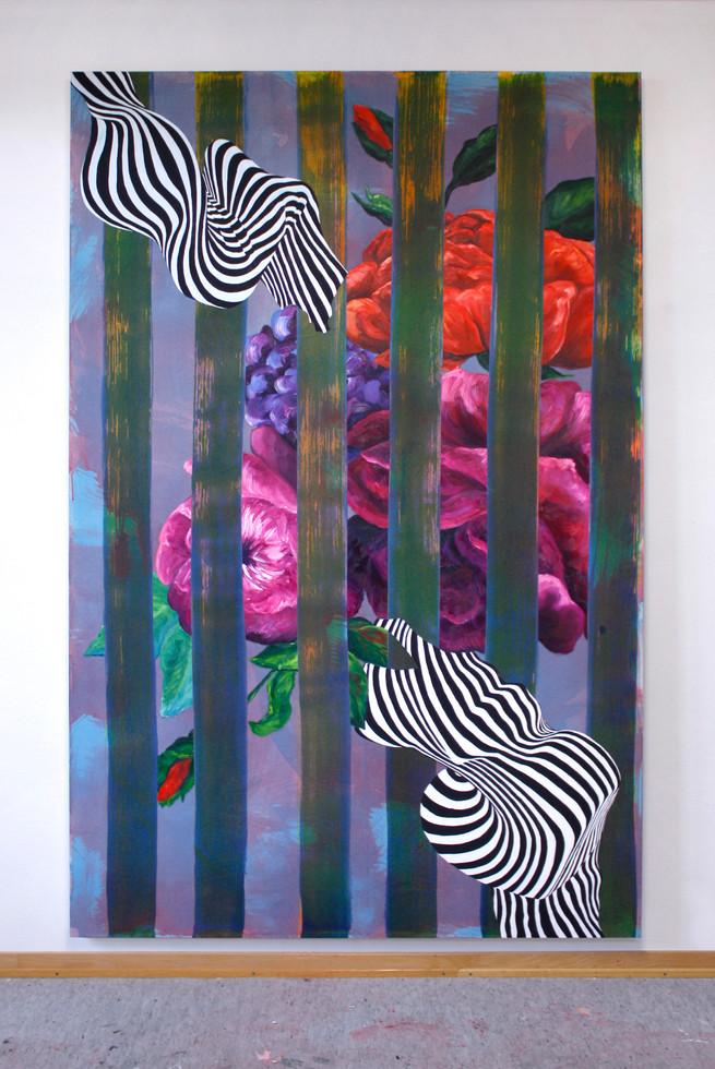 Utan titel, 210x135 cm, olja, tempera och akryl på bomullsduk, 2019