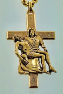 Mother & Son Cross Pendent -With 3 Diamonds