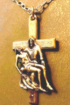Mother & Son Cross Pendent Gold