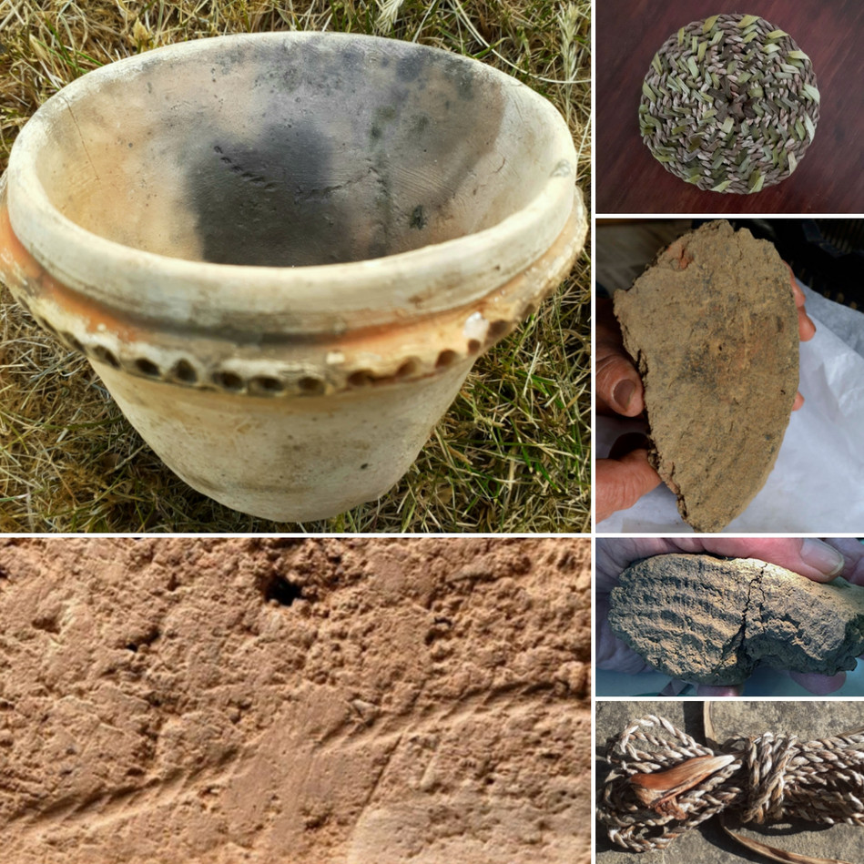 13. Cordage and mats imprinted on pots.j