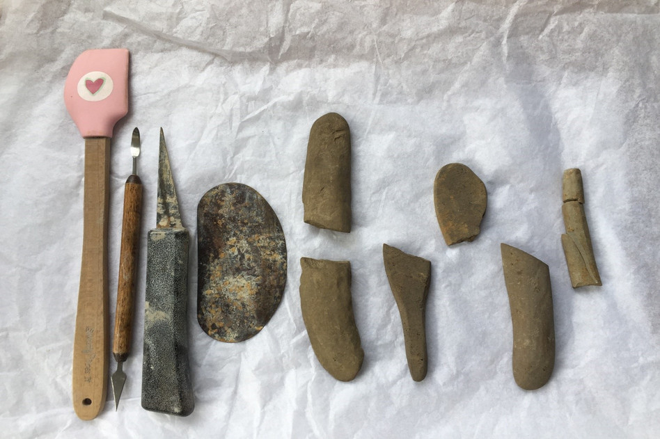 Archaeological finds from the Ness of Brodgar dig, alongside my pottery tools