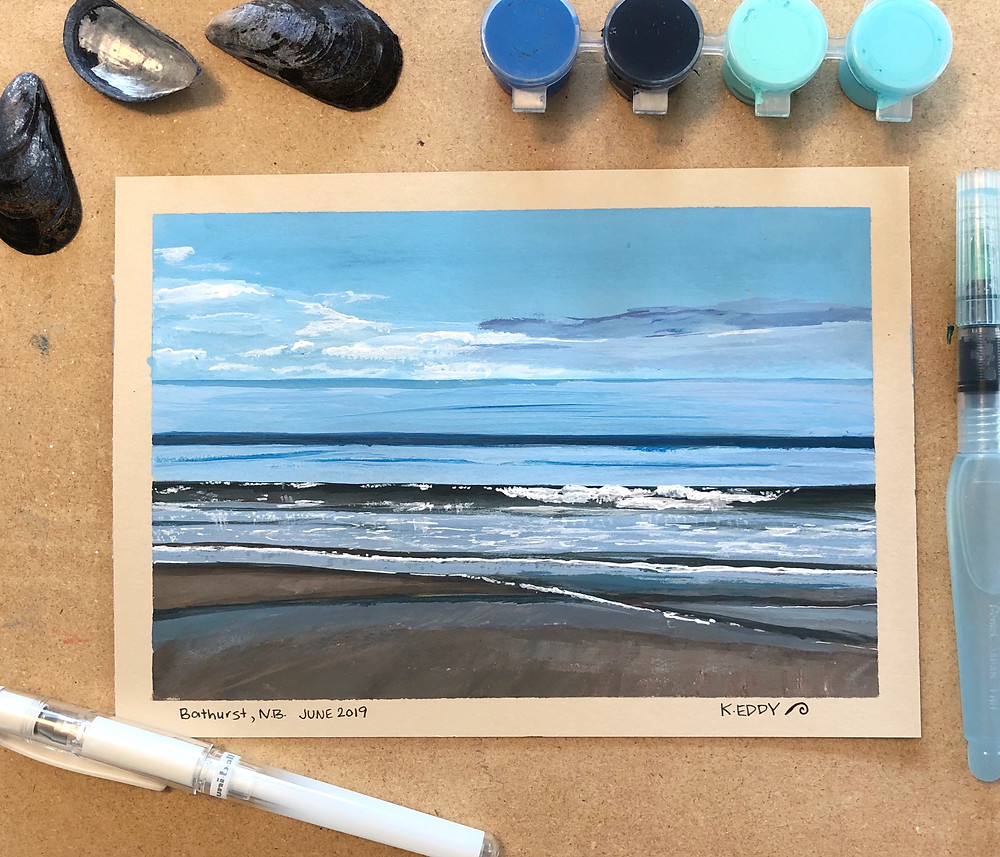 Seascape painting of Youghall Beach, Bathurst, New Brunswick by Kimberley Eddy