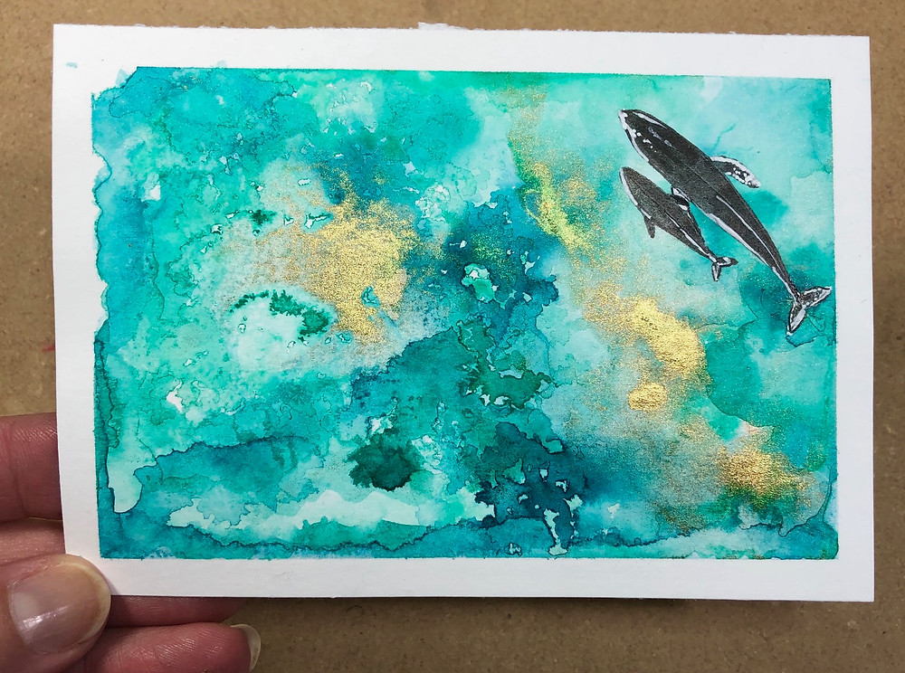 original ink painting of a humpback whale and calf in teal, turquoise and gold.