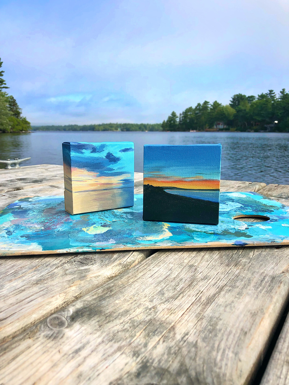 Little seascape paintings of sunrises and sunsets