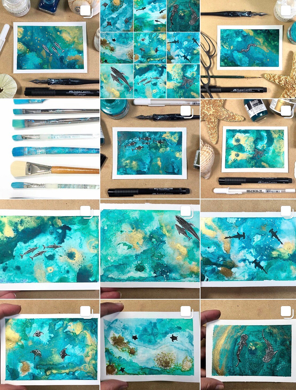 a grid view of Kimberley Eddy's Instagram feed of ocean art