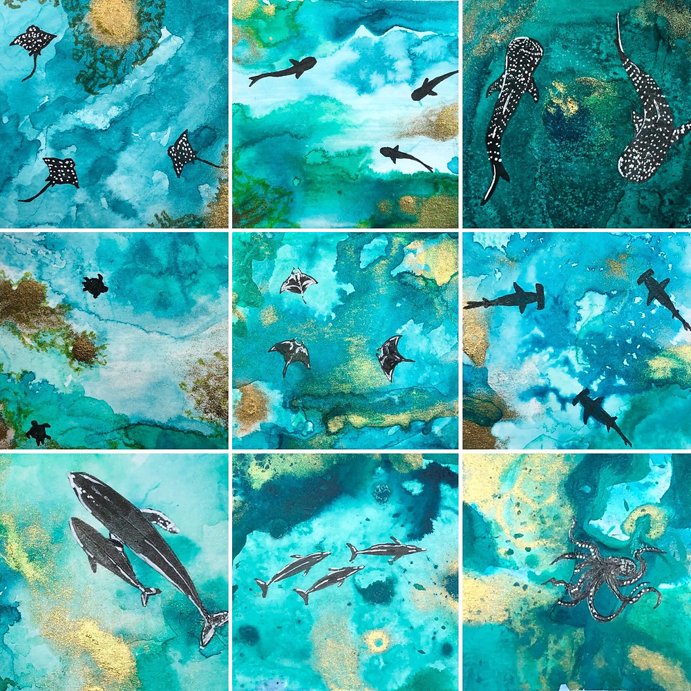 a grid of details from 9 paitings from the Inky Ocean Collection by Kimberley Eddy