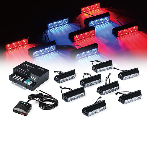 Red/Blue G1 Series 8 LED Hide A Way Emergency Strobe Light Set