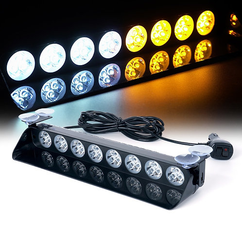 High Intensity 24W LED Windshield Strobe Light with Suction Cups