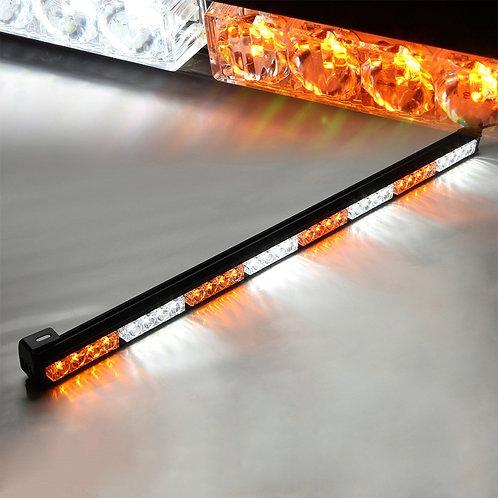 """Amber & White Mix 35.5"""" 32 LED Traffic Advisor Strobe Light Bar Kit"""