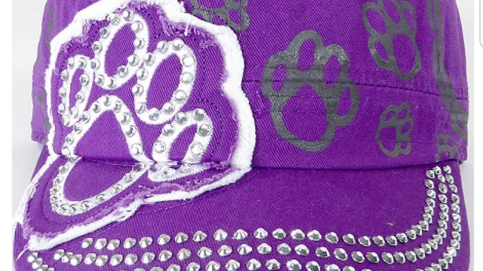 Bling Paw Print Military Style Hat Purple & White