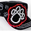Thumbnail: Bling Paw Print Military Style Hat Black & Red
