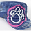 Thumbnail: Bling Paw Print Military Style Hat Blue Denim & Pink