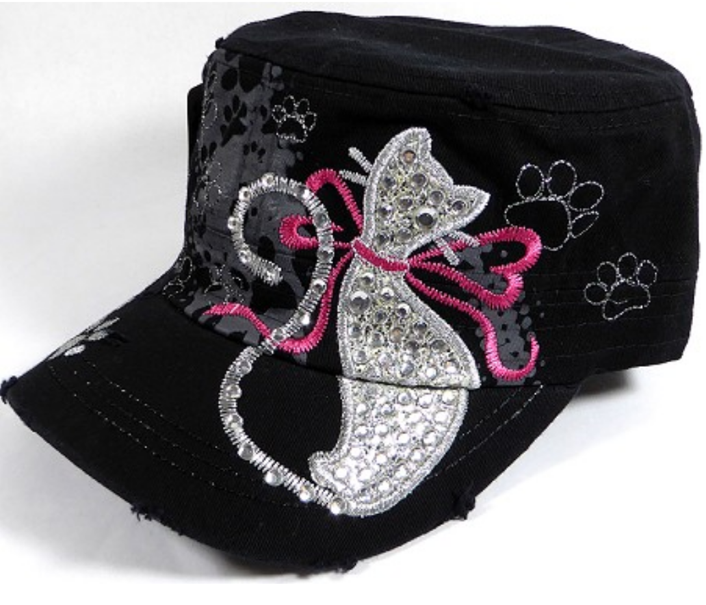 9d7788a7 Bling Cat Silhouette Military Style Hat Black