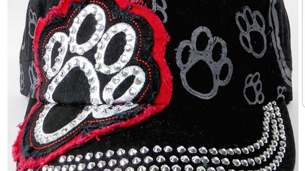 Bling Paw Print Military Style Hat Black & Red