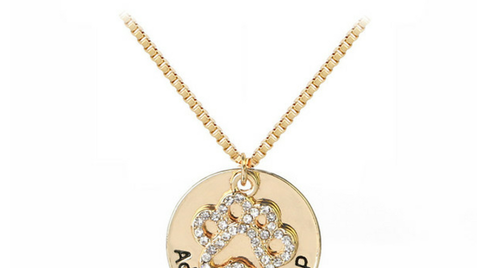 Rhinestone Adopt Don't Shop Gold Plated Necklace