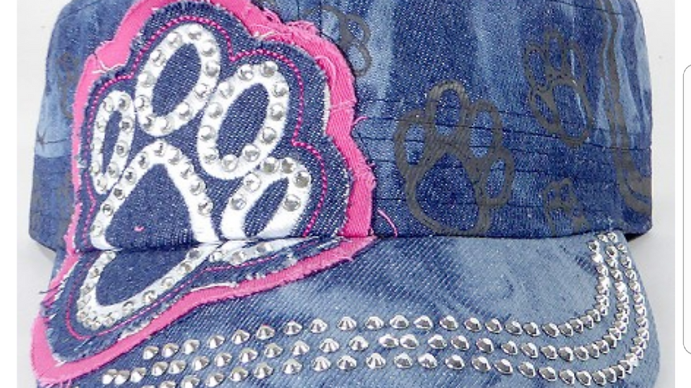 Bling Paw Print Military Style Hat Blue Denim & Pink