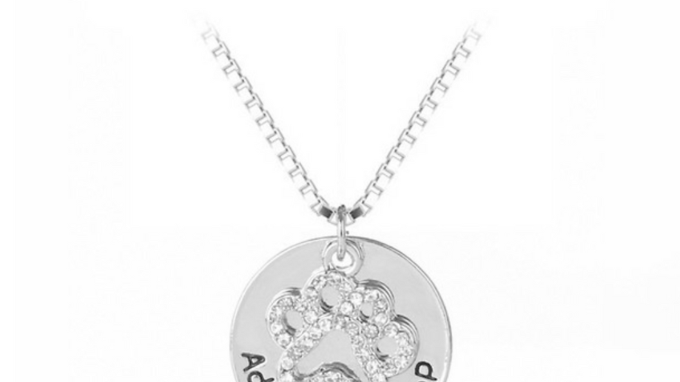 Rhinestone Adopt Don't Shop Silver Plated Necklace