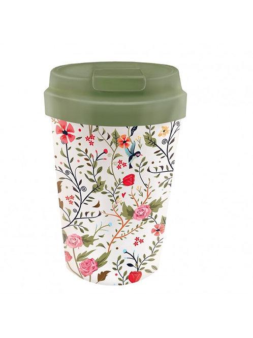 """Mug transport bambou """"fleuri"""""""