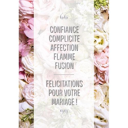 Carte double félicitations pour votre mariage